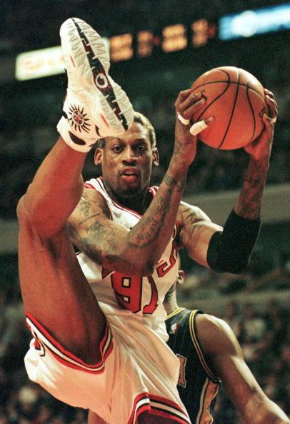 Chicago Bulls forward Dennis Rodman steals a rebou
